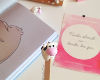 Cute Cow Bookmark - polymer clay book accessories