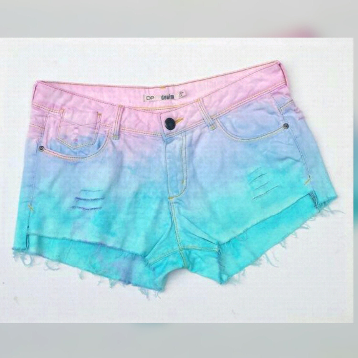 Pastel Goth Denim Shorts ALL Sizes Available Ripped Pastel