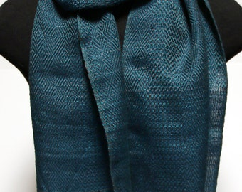 Handwoven Blue Multi-Patterned Scarf
