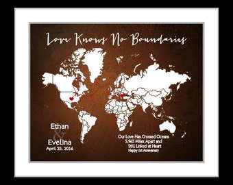 Long distance relationship gift long distance love gift custom map gift for couple anniversary gift custom love map anniversary gift for her