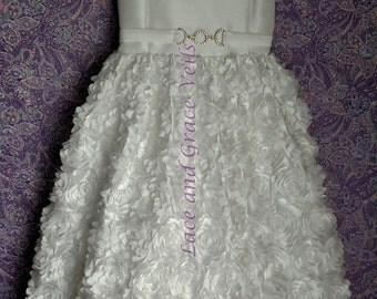 First Communion Dress Size 7  with Choice of Handmade Veil (14)