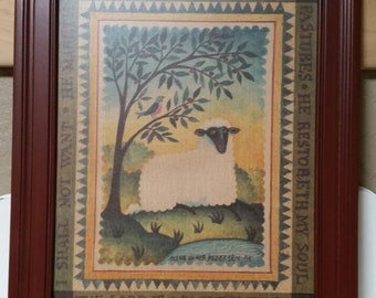THE LORD Is My SHEPHERD Picture Frame 16.5 Inches Christian Gift Ideas Warm Colors Children Farmhouse Country Sheep Tree Primitive Folk Art