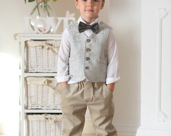 Ring bearer vest and pants Boys outfit Autumn winter wedding outfit 1st birthday outfit Boys vest and pants Boys baptism outfit Family prop