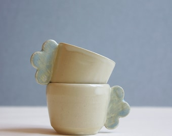 Espresso cups set of 2 Cream with cloud handles