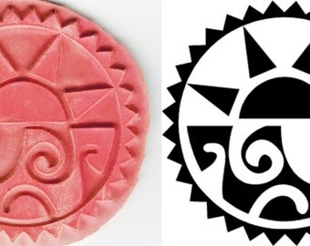 Aztec Sun Design Stamp Tool for PMC - Ceramic Clay - Polymer Clay - Textiles - ScrapBooking - Paper - Etching - Aztec Sun Design Stamp Tool