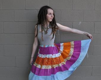 Koi Pond Tiered Hippie Skirt // Ooak Patchwork Skirt