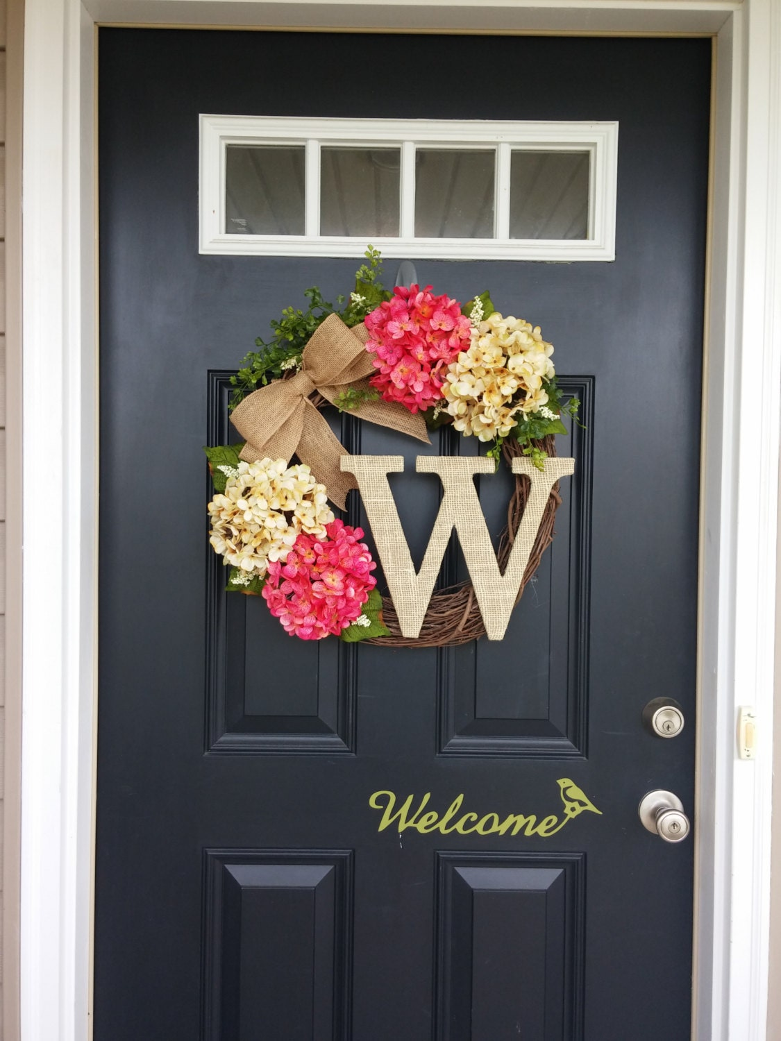 Summer wreath monogram wreath hydrangea wreath front door for Front door decor