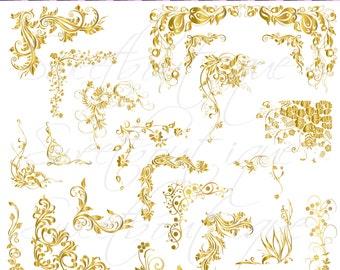 Gold Swirls Clipart Etsy