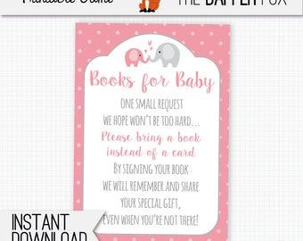 Book Request Pink Elephant Bring A Book Baby Shower insert card - printable - Books for Baby insert Baby Girl Pink and Grey Cute