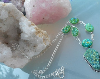 Free shipping druzy gemstone necklacein sterling silver setting sent in pretty gift box