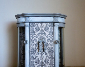 Paris Grey Hand Painted Jewelry Armoire.  Damask Decoupage. Vintage Charm. Je t'aime