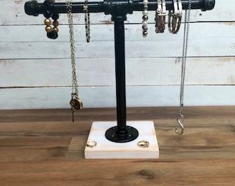 Jewelry stand, industrial jewelry stand, jewelry stand display, jewelry rack, rustic industrial chic, pipe jewelry stand
