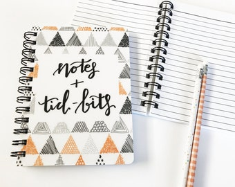 Notes + Tid-Bits Orange Triangle Scribble Pattern 5x7 Hardcover Spiral Notebook - 75 Lined Pages - Girl Boss Gift Must Have - Back to School