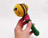 crochet bee rattle / pink flowers / colorful baby toy / shower nursery gift / toddler toy / organic cotton