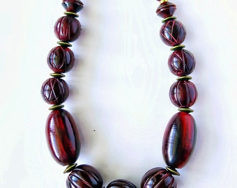 Big, Chunky Tribal Horn Necklace. Hand carved  Red horn beads. Nepal, Tribal, Ethnic, Long, .  Unisex. African, Nepal  Boho.