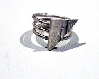 Nautical Pure Silver Sail Shaped 3D Printed Size 6 Ring