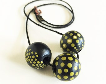 Galactic Necklace - Hand-painted Wooden Bead Dot Jewelry - Black and Chartreuse