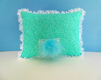 Girls Tooth Fairy Pillow ,Turquoise and White Pillow,  Doll Accessory, Turquoise Room Decor ,  Can Be Personalized