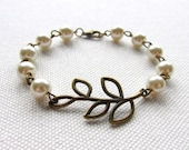 Brass Branch Bracelet Ivory Pearl Bracelet Bronze Leaf Bridesmaid Jewelry Wedding Bridal Gift Ivory Pearl