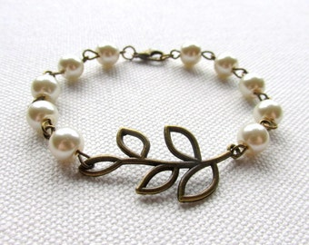 Brass Branch Bracelet Ivory Pearl Bracelet Bronze Leaf Bridesmaid Jewelry Wedding Bridal Gift Ivory Pearl