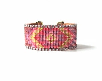 Wide beadloom bracelet - Tribal bead loom bracelet, friendship bracelet, loom bracelet, statement cuff, friendship cuff, geometric bracelet