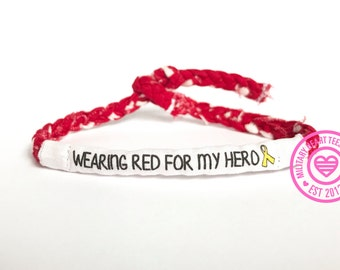 Wearing Red for My Hero, Red Friday Bracelet, Customizable Military Bracelet, Yellow Ribbon Deployment Bracelet, Army, Air Force, Navy gift