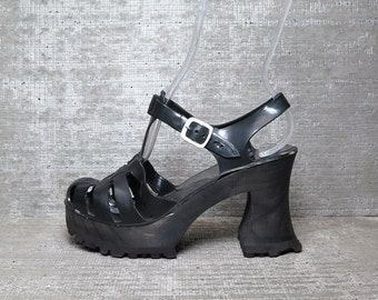 Vtg 90s Black Jelly Wood Platform Chunky Sandals Clogs 7