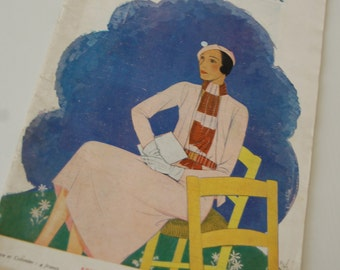 Vintage Fashion Magazine French 1930's Modes et Travaux no. 301 Sewing and Knitting