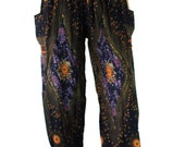 Peacock Pants  Boho Pants Hippie Pants aladdin harem pants one size fits all elastic waist ankle woman black