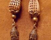 Buddha head brass bead rhinestone bead earrings