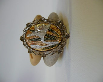 Vintage Japanese style woven motif brooch or pendant