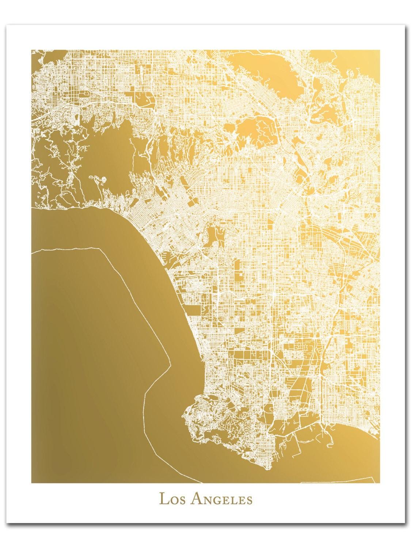 Richmond Map Map Of Richmond Virginia Gold Foil Map Gold - Los angeles va map