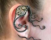 Black Copper Wire Wrap Steampunk Ear Wrap - Right Ear