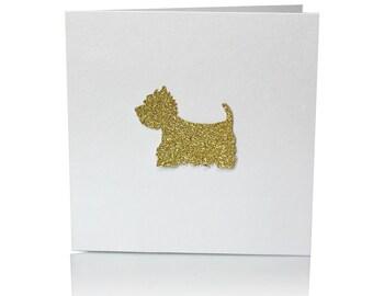 Glitter Westie dog card
