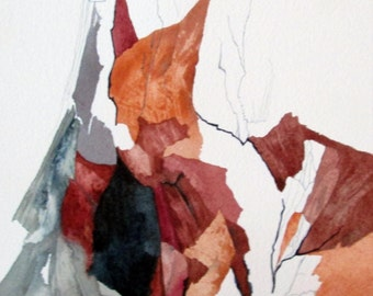 """Southwest Series  """"Fire Damaged Bark Pattern""""  original one of a kind watercolor"""