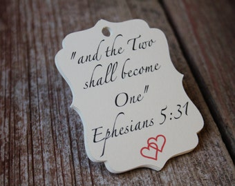 Ephesians 5:31, Wedding Favor Tags, Wedding Tags, Christian Wedding, Wedding Favors, Bridal Shower Favors
