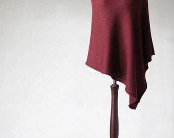 Red cherry poncho, knit poncho, sweater wrap, womens sweater, wool sweater, womens coat, womens poncho, turtleneck sweater, wool poncho