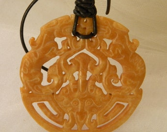 Jade dragon pendant w leather cord necklace , beaded jewelry , large round jade pendant , Chinese carved jade dragon , jade jewelry & cord