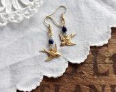 Little Bird Earrings navy blue boho earrings brass earrings bird earrings bohemian jewelry