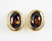 Christian Dior Earrings, Vintage Christian Dior Imperial Champagne Topaz Swarovski Crystal Oval Clip On Earrings