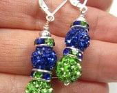 Seattle Seahawks Bling Earrings, Sterling Silver, Seattle Seahawks Jewelry, Seahawks Women, Seahawk Earrings, Seattle Sounders FC Earrings
