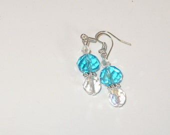 Czech rich aqua and iridescent crystal drop earrings.