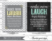 chevron baby shower game, make mom laugh, diaper game, chalkboard, PRINTABLE