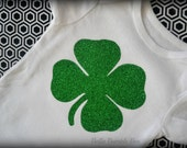 Green Glitter Shamrock white baby onesie, Newborn 3 6 9 12 18 24 months of age, babies shirt for girls or boys - Saint Patricks Day