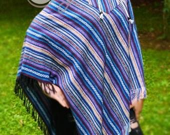 Womens Poncho, Poncho, Boho Poncho, Hippie Poncho, Tribal Poncho, Hooded Poncho, Gypsy Poncho, Mens Poncho, Bohemian Poncho, Blue Poncho