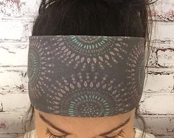 Yoga Headband - Boho Tribal Circles - Brown - Eco Friendly