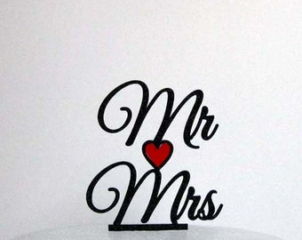 Wedding Cake Topper - Mr & Mrs with a red heart