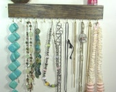 Jewelry Organizer Display Hanger Holder Shelf Dark Walnut Stain Handmade Rustic Ready to Ship