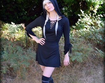 Witch Dress with Hood ~ Black Hooded Dress Lace Up Wiccan ~ Bell Sleeve Lacing Tunic Nu Goth Hood Occult Clothing ~ Pagan Witchcraft Wiccan