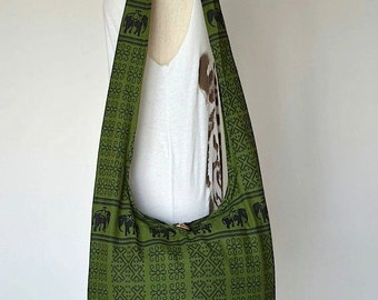 SALE 20% -- Thai Bohemian Hippie Elephant Printed Cotton Crossbody Bag / GREEN / Sling Handmade Shoulder Bag Hobo Messenger Bag Purse TO072